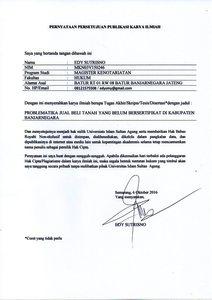 Problematika Jual Beli Tanah Yang Belum Bersertifikat Di Kabupaten Banjarnegara Unissula Repository