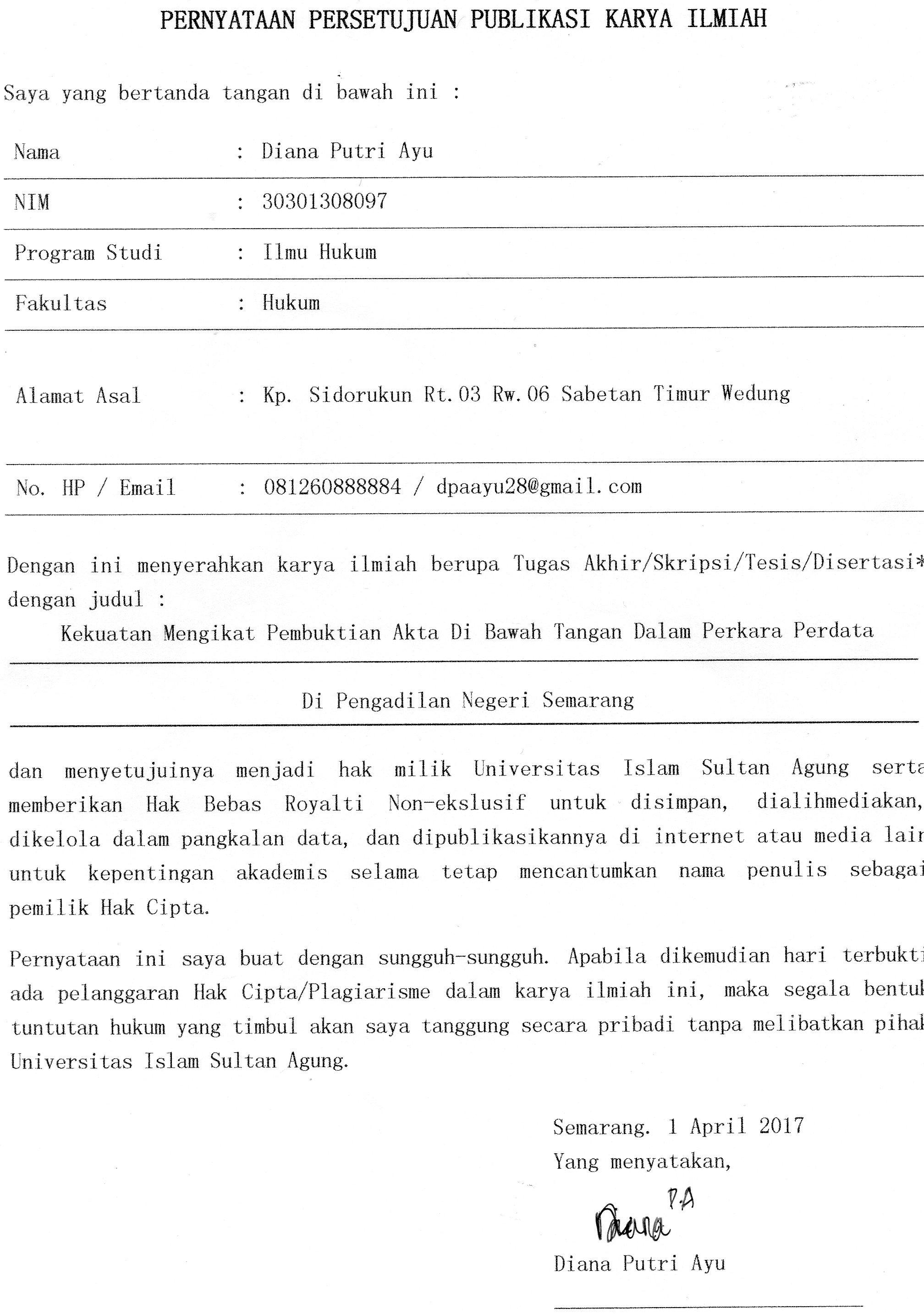 Kekuatan Mengikat Pembuktian Akta Di Bawah Tangan Dalam Perkara Perdata Di Pengadilan Negeri Semarang Studi Kasus No 119 Perdata G 2015 Pn Smg Unissula Repository